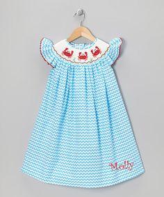 Crab Chevron Smocked Dress by SmockCandy on Etsy, $34.00