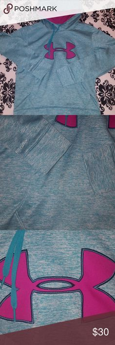 Under armour storm fleece hoodie Super comfortable and cozy! Keeps your warm and dry, excellent pre loved condition, size medium no tags but I bought this myself and know it a medium! Gorgeous teal and purple. Under Armour Jackets & Coats