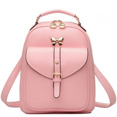 Cool! Cute Girls' Bow Buckle Student Bag Simple PU College Backpack just $34.99 from Atwish.com! I can't wait to get it!