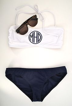 Navy and White Monogrammed Bikini. I like the style, just not a fan of the monogram. Maybe a different monogram. White Swimsuit, Swimsuit Tops, Honeymoon Bikini, Honeymoon Style, The Bikini, Bikini Ready, Bikini Set, Lingerie, Up Girl