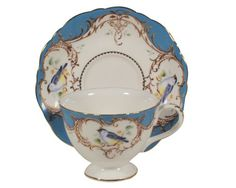 Gracie China by Coastline Imports 7-Ounce Tea Cup and Saucer Scallop Edge, Peacock Blue Bird Gracie China by Coastline Imports