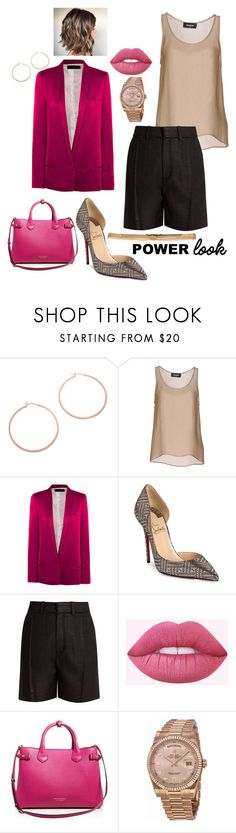 """""""Power Look"""" by k-zaldi ❤ liked on Polyvore featuring Jennifer Zeuner, Dsquared2, Haider Ackermann, Christian Louboutin, Chloé, Lime Crime, Burberry, Rolex and Lanvin"""