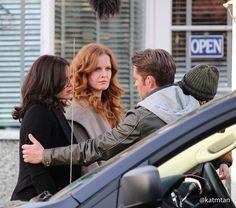 Lana Parrilla, Rebecca Mader & Sean Maguire filming scenes for episode 4x20 - March 3, 2015