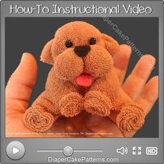 How to Make a Washcloth Puppy Video Tutorial | Diaper Cake Patterns | Baby Shower Favors