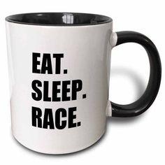 3dRose Eat Sleep Race - gift for racing fans - fun sport running or car racer, Two Tone Black Mug, 11oz