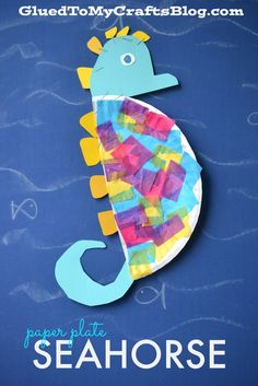Paper Plate and Tissue Paper Seahorse - Summer Kid Craft # Parenting activities Paper Plate Seahorse - Kid Craft Seahorse Crafts, Ocean Animal Crafts, Ocean Crafts, Animal Crafts For Kids, Summer Crafts For Kids, Toddler Crafts, Art For Kids, Summer Crafts For Preschoolers, Beach Themed Crafts