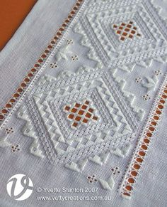 Some years ago - about five, actually - I taught a class where the project was a traditional-style Hardanger runner. I've had a photo of it on the Hardanger page of my website for many years, but I've Embroidery Designs, Hardanger Embroidery, Types Of Embroidery, Learn Embroidery, White Embroidery, Vintage Embroidery, Cross Stitch Embroidery, Hand Embroidery, Embroidery Scissors