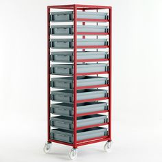 Mobile Tray Rack for High Trays Paper Storage, Tool Storage, Storage Shelves, Shelving, Locker Storage, Double Sided Stove, Metal Tool Box, Warehouse Design, Plastic Crates