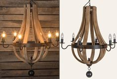 Beautiful and unique, our wine barrel chandelier features a rustic metal ring that surrounds six wood slats that come together at the bottom creating a natural and organic look. Perfect for your living room or dining room. Ceiling mount/cap and hardware included.
