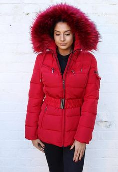 Harper Quilted Longline Hooded Puffer Coat with Faux Fur Trim & Belt in Red Winter Coats Women, Coats For Women, Clothes For Women, Puffy Jacket, Fur Jacket, Puffer Coat With Fur, Ladies Coats, Red Fur, Playsuits