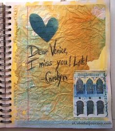 A Love Letter to Venice art journal page by Carolyn Dube