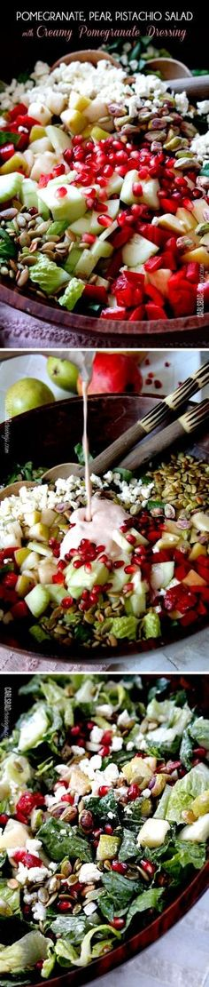 This salad is SO addictingly delicious! Sweet pomegranate arils, pears, apples, crunchy cucumbers and peppers complimented by salty roasted pistachios and pepitas all doused in Creamy Pomegranate Dressing. by AislingH