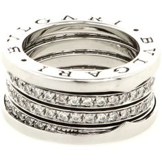 Bulgari Pre-owned 4-band ring 'BZero' (€7.100) ❤ liked on Polyvore featuring jewelry, rings, silver, white gold band ring, bulgari rings, band jewelry, white gold jewelry and pre owned jewelry