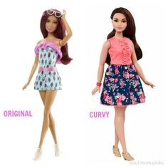 Original vs the new Curvy Barbies. Big difference!