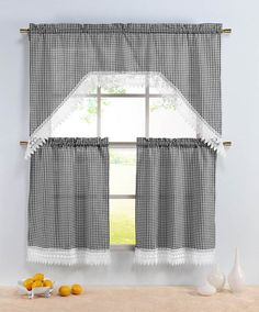 Gingham Check 3 Piece Kitchen Curtain Set Complete Includes One 1