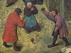 """Pieter Breughel, 1559, Jeu avec le toupie qui s'appelait """"pidole"""" en langue lorrain"""