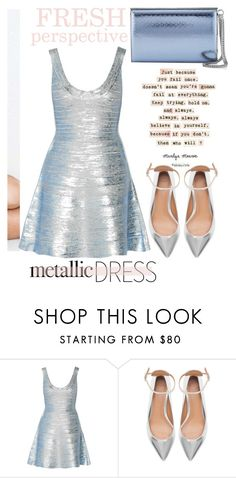 """""""Metallic Dress"""" by emcf3548 ❤ liked on Polyvore featuring Hervé Léger, Zara and Jimmy Choo"""