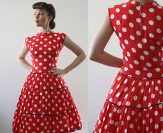 1940s 1950s country day dress red white polka dot by BatYourLashes, $55.00