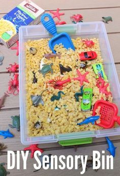 Sensory bins are a fun way to get kids to explore different shapes adn textures. Use macaroni and cheese shapes to create a fun DIY Sensory Bin and feed their creativity with sensory play! Babysitting Activities, Sensory Activities Toddlers, Autism Activities, Infant Activities, Daily Activities, Spring Activities, Autism Resources, Sensory Tubs, Sensory Boxes