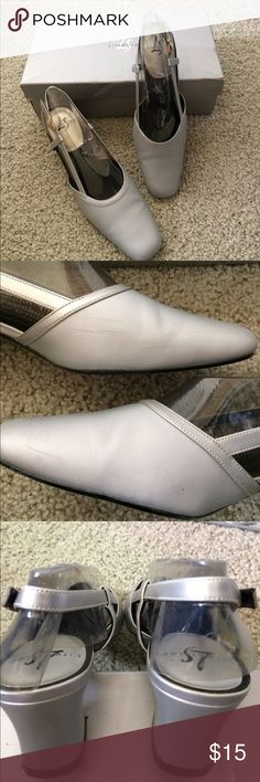 Life Stride silver dress shoes. 👠 Worn twice, but have a few marks. Hard to see and the second picture has close ups. Very comfy. Life Stride Shoes Heels