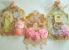 A set of tiny tags by Rhue Chantal.  Handmade rolled roses, chipboard elenents, and lots of lace combine in these fun to make creations.