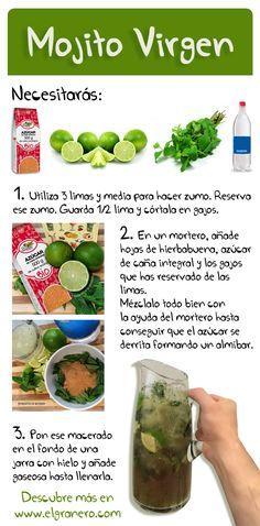 Mojito virgen (sin alcohol) y con azúcar de caña integral de cultivo ecológico. Aprende a prepararlo!