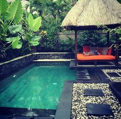 Having a pool sounds awesome especially if you are working with the best backyard pool landscaping ideas there is. How you design a proper backyard with a pool matters. Tropical Pool Landscaping, Landscaping Ideas, Pool Backyard, Patio, Modern Tropical, Tropical Houses, Tropical Style, Bali Huts, Paradise Pools