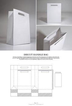 Diecut Handle Bag - Packaging & Dielines: The Designer's Book of Packaging Dielines Más Packaging Dielines, Paper Packaging, Bag Packaging, Packaging Design, Branding Design, Retail Packaging, Craft Packaging, Diy Gift Box, Diy Box