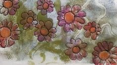 Started as a Gelli print! Through My Window: Another zippered pouch. I added the Shiva Paintsticks to the flower centres....
