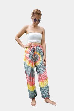 Tie Dye Thai Harem Pants Multicolor Hippie Rainbow (STR8)