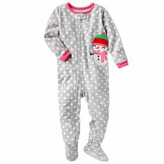 Carter's Dotted Snowgirl Microfleece Footed Pajamas - Baby