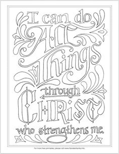 """""""I Can Do All Things"""" Coloring Page Free printable Scipture-based coloring pages Bible Crafts, Bible Art, Scripture Art, Printable Scripture, Coloring Book Pages, Coloring Sheets, Coloring Bible, Free Printable Coloring Pages, Free Printables"""