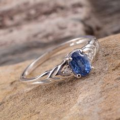 Himalayan Kyanite and White Topaz Ring in Platinum Overlay Sterling Silver (Nickel Free)