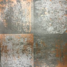 Holden Decor Metal Panel Wallpaper - Bang on trend is this industrial-looking copper plate wallpaper from the Statement feature wall collection. Slightly textured metallic copper on a flat matt grey background.