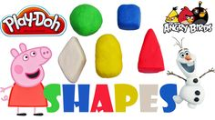 Shapes Peppa pig surprise eggs play doh #shapes #playdoh #peppapig #angrybirds
