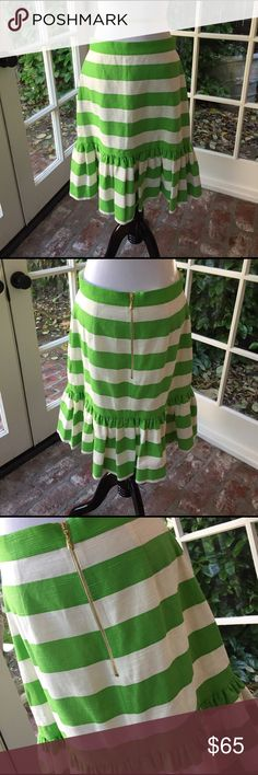 kate spade ♠️ green & white striped skirt This skirt is beautiful!  Shell is 100% cotton and lining is 100% polyester. Back zipper is gold. Measures 23 inches long. Waist measures 30 inches. Not stretchy. kate spade Skirts