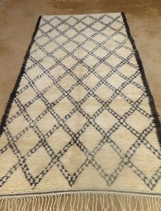 """Vintage BENI OURAIN Double Lozenges Tasseled Moroccan Rug  Mid Century Modern Contemporary White Giant  Le Corbusier Eames 6' 3  x 12' 2"""""""