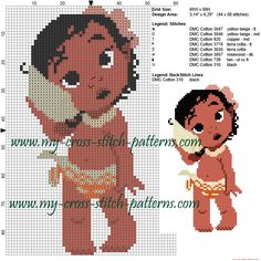 Baby Moana cross stitch pattern