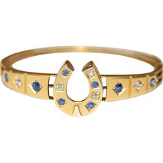 Lucky Fine Antique Victorian 15 carat gold, diamond and sapphire horse shoe bangle - circa 1880 from Elizabeth Rose Antiques on RubyLane.com
