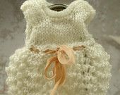 "Knitted White Dress for your 6 1/2"" bear by Aerlinn Bears"