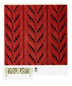 Knitting Stitches Gallery (needles) - Her Crochet Lace Knitting Stitches, Lace Knitting Patterns, Knitting Charts, Lace Patterns, Knitting Designs, Stitch Patterns, Gilet Crochet, Knit Crochet, Pulls
