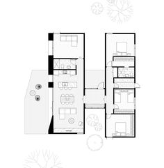 A 'H' shape floor plan establishes strong connections through arms that reach out into the site offering the opportunity to visually & physically connect to it's environment. << Swipe left for our popular Sunday design which provides the perfect platform to reconnect with nature. #housesbyarchiblox #archiblox #prefab #prefabricated #prefabarchitecture #healthyhomes #functional #smartdesign #familyliving #designinghouses #floorplan #modulararchitecture #home #modularhomes… Simple House Plans, Tiny House Plans, House Floor Plans, Modular Home Floor Plans, Home Design Floor Plans, L Shaped House, Architectural Floor Plans, Floor Plan Drawing, Long House