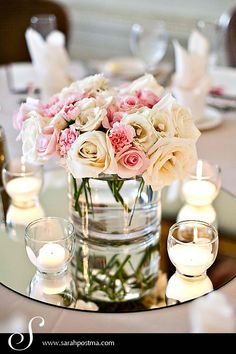 pink roses, carnations, lisianthus, centerpiece idea