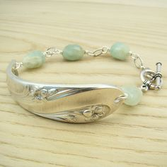 Silver spoon bracelet green blue faceted by laurelmoonjewelry, $26.00