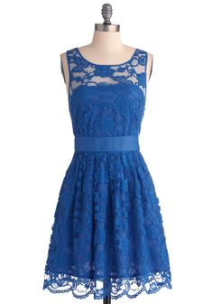 When the Night Comes Dress in Blue by BB Dakota - Blue, Lace, Formal, Wedding, Party, A-line, Sleeveless, Mid-length, Floral, Exclusives