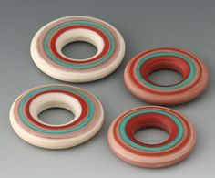Southwest Discs - (4) Handmade Lampwork Beads - Turquoise, Stone, Red - Etched, Matte