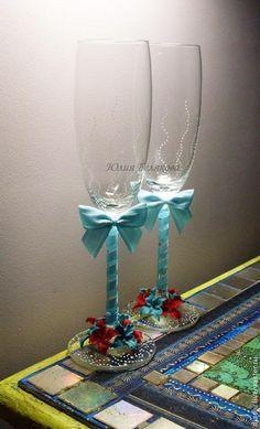 Свадебные бокалы, цветы из пластики - Ярмарка Мастеров - ручная работа, handmade