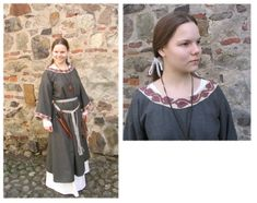 Anglo-Saxon embroidery article. The gown in this picture is too short for AS, and the belt wrapping is also later.