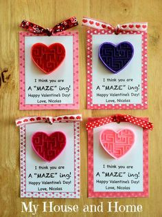 A Maze ing Valentine Cards - create and print phrase on card stock; adhere maze and mount to Valentine/heart card stock; add small bow...