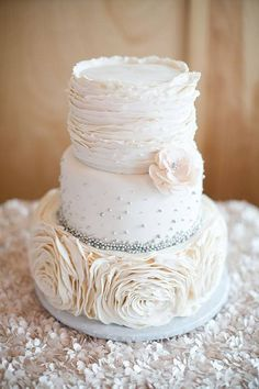 Classic St. Louis Wedding, White Wedding Cake with Ruffle Details